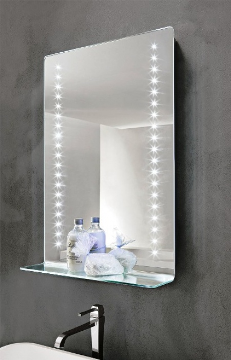 Mirror with LED diodes and shelf - Leo