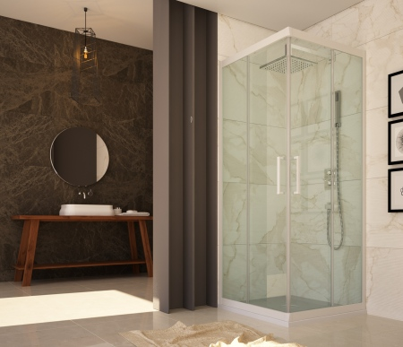 Shower cabins from resin and glass
